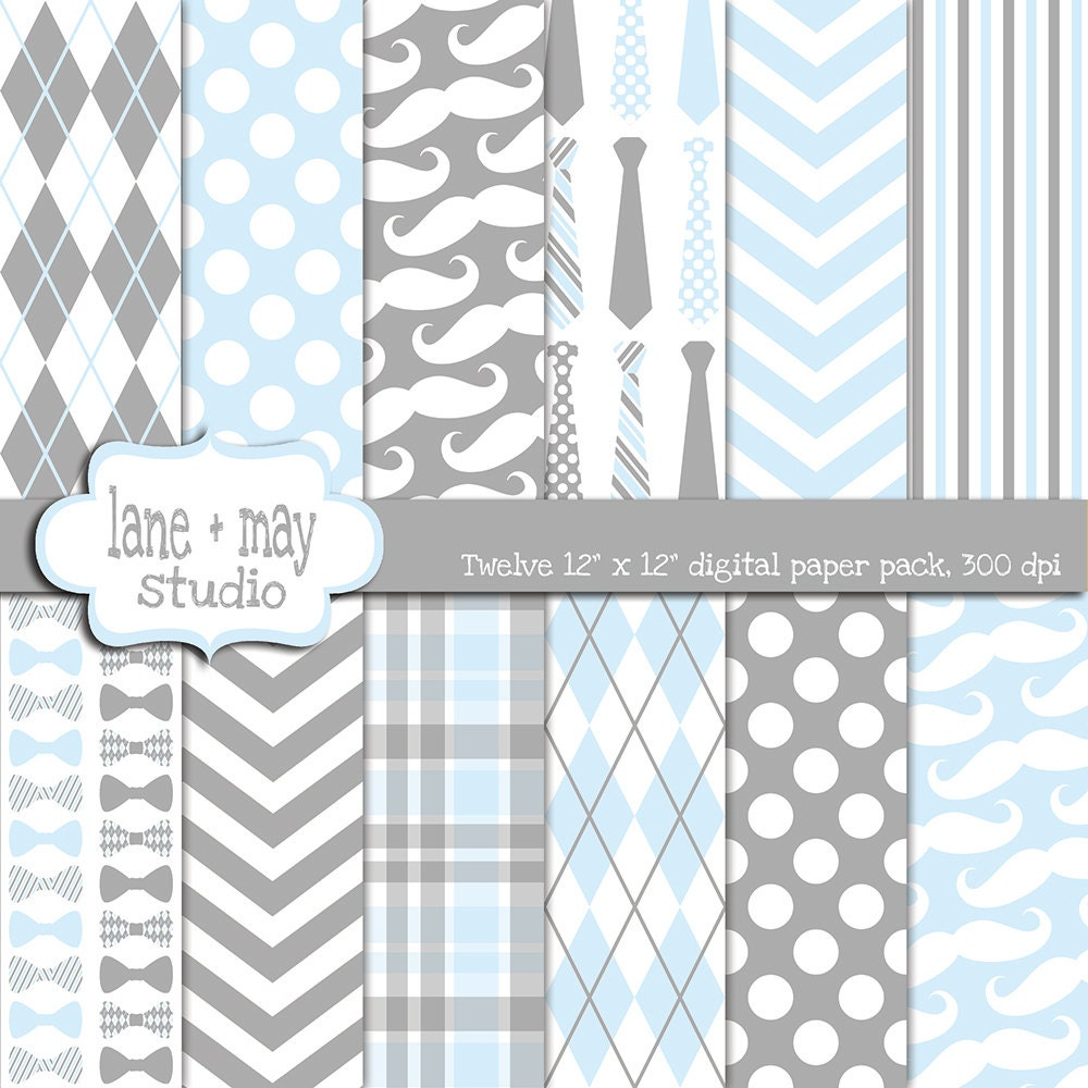 Digital Scrapbook Papers Gray And Baby Blue Little Man Etsy