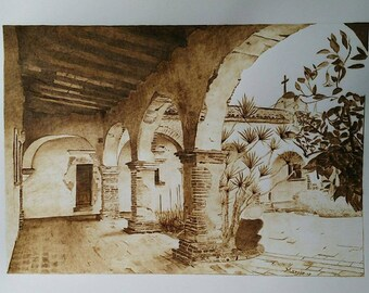 Woodburning on Paper Pyrography art San Juan, Capistrano architecture, framed original art