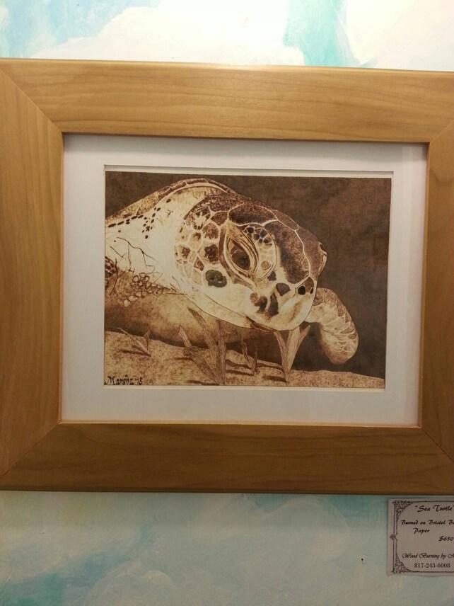 Meeresschildkröte Brennen auf Papier Holz brennen | Etsy