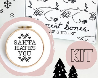 Christmas Cross Stitch Kit - Santa Hates You - Festive Cross Stitch Pattern - Cross Stitch For Beginners - Christmas Gift - Christmas Crafts