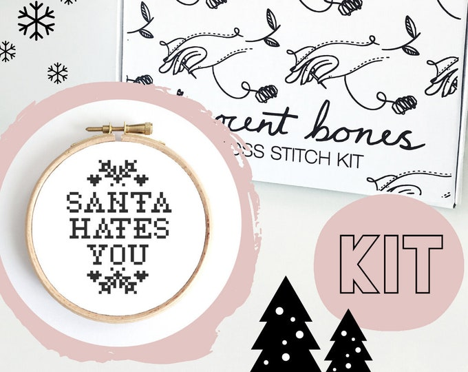 Featured listing image: Christmas Cross Stitch Kit - Santa Hates You - Festive Cross Stitch Pattern - Cross Stitch For Beginners - Christmas Gift - Christmas Crafts