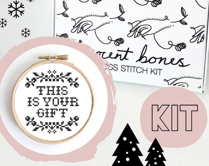 Featured listing image: Christmas Cross Stitch Kit - Modern Embroidery - Festive Cross Stitch Pattern - Cross Stitch For Beginners - Christmas Gift Christmas Crafts