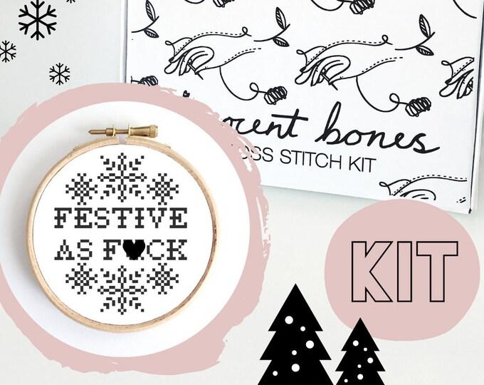 Featured listing image: Christmas Cross Stitch Kit - Festive As F*ck - Mature Cross Stitch Pattern - Cross Stitch For Beginners - Christmas Gift Christmas Crafts