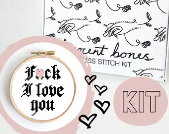 Valentines Modern Cross Stitch Kit - F*ck I Love You Cross Stitch Pattern - Learn To Cross Stitch - Cross Stitch For Beginners - Mature Gift
