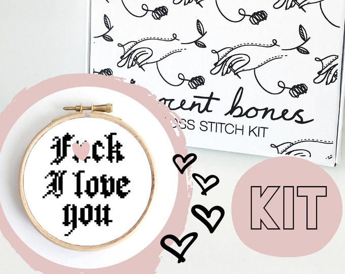 Featured listing image: Valentines Modern Cross Stitch Kit - F*ck I Love You Cross Stitch Pattern - Learn To Cross Stitch - Cross Stitch For Beginners - Mature Gift