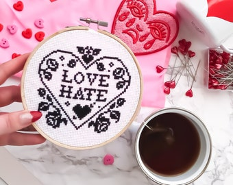 Modern Cross Stitch Kit - Love Hate Heart Cross Stitch Pattern - Learn To Cross Stitch - Cross Stitch For Beginners - Sassy Quote Pattern