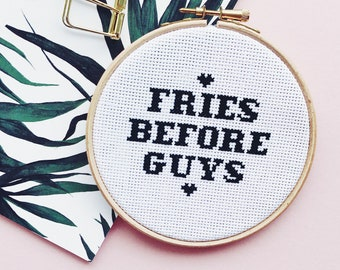 Fried Before Guys Completed Cross Stitch Ready To Display - Perfect Gift Home Decoration - Cheeky Slogan Bad Taste Embroidery