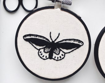 Delicate Butterfly Hand Embroidery - Completed Embroidery Ready To Display - Perfect Gift Home Decoration - Simple Black & White Modern