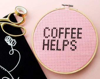 Coffee Helps Pink & Black Cross Stitch Hoop - Completed Cross Stitch Decor Home Accessory Gift