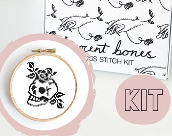 Modern Cross Stitch Kit - Skull & Roses Gothic Tattoo Style Cross Stitch Pattern - Learn To Cross Stitch - Cross Stitch For Beginners
