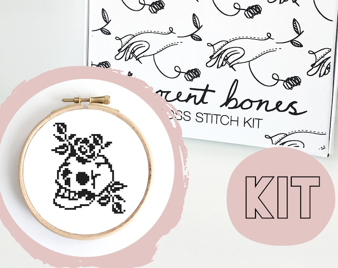 Featured listing image: Modern Cross Stitch Kit - Skull & Roses Gothic Tattoo Style Cross Stitch Pattern - Learn To Cross Stitch - Cross Stitch For Beginners