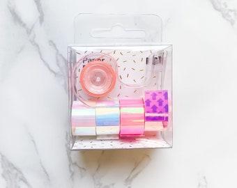Mini Holographic Washi Tape - Tape Dispenser - Metallic Rainbow Tape - Planner tape, Journal tape, Crafts, Scrapbooking, Journaling