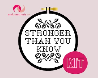 Modern Cross Stitch Kit - Endometriosis Awareness Cross Stitch Pattern - Learn To Cross Stitch - Cross Stitch For Beginners - Embroidery Kit