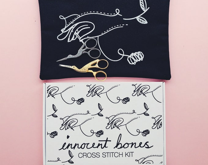Featured listing image: PRE-ORDER - Innocent Bones Starter Bundle - Cross Stitch Kit + Carry Pouch + Embroidery Scissors - Sewing Kit Accessories For Beginners