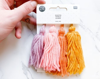 Yellow Pink Pastel Wool Tassels - Wool Tassels - Pink Yellow Lilac Orange - Craft Accessories - Trimmings - Crafty Gift - Sewing Embroidery