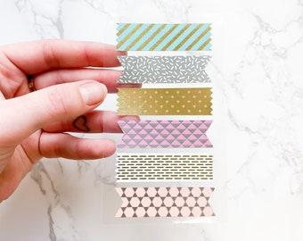Metallic Patterned Tape Stickers - Cute Stationery - Sticker Sheets - Metallic Foil Stickers - Stationery - Journaling - Scrapbooking