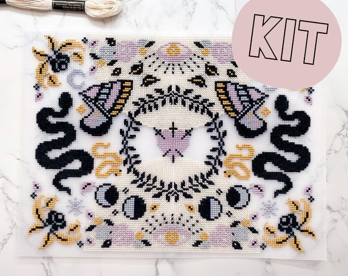 Featured listing image: Modern Cross Stitch Kit - Large Moon Stars Snakes Moth Floral Celestial Gothic Cross Stitch Pattern - Learn To Cross Stitch - Embroidery Kit