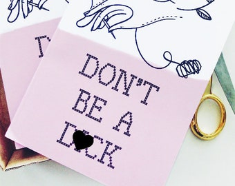 Don't Be A D*ck A5 Notebook - Innocent Bones Cross Stitch Themed Grid Pages - Mature Naughty Cheeky