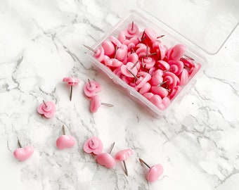 Pink Heart Pins - Decorative Push Pins - Cute Thumb Tacks - Map Pins - Stationery Office Supplies - Cute School Supplies - Board Pins