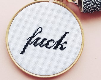 F*ck Off PDF Modern Cross Stitch Digital Pattern - counted cross stitch chart design with how to cross stitch guide for beginners - mature