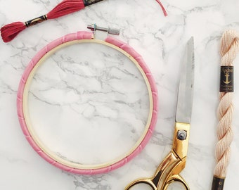 Bright Pink Embroidery Hoop. Wrapped Embroidery Hoop. Velvet Embroidery Hoop. Coloured Embroidery Hoop. Hand Embroidery Frame.