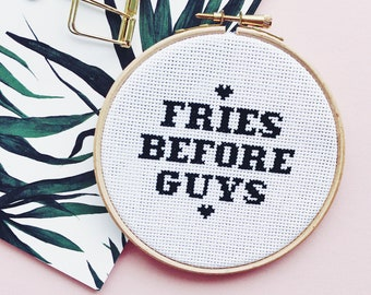 Fries Before Guys PDF Modern Cross Stitch Digital Pattern - counted cross stitch chart design with how to cross stitch guide for beginners