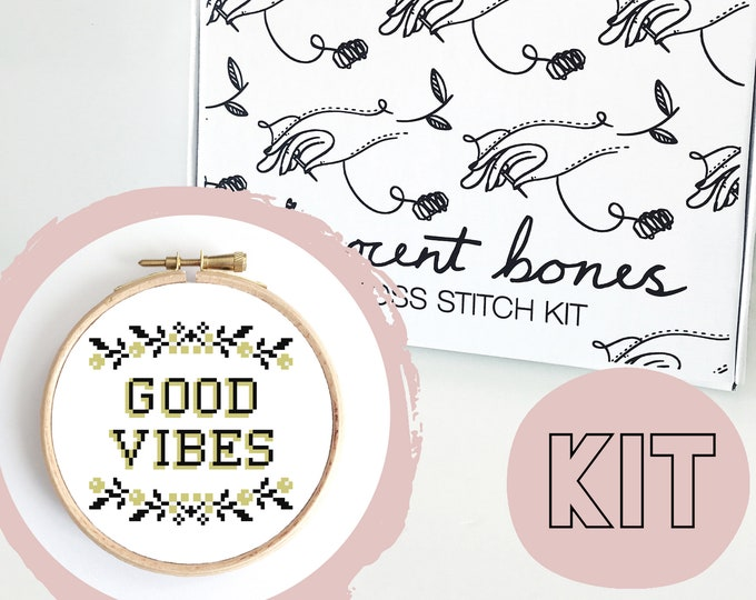 Featured listing image: Modern Cross Stitch Kit - Good Vibes Floral Border Cross Stitch Pattern - Learn To Cross Stitch - Cross Stitch For Beginners - Mature