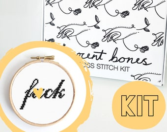 F*ck Modern Cross Stitch Kit - easy chart design - rude offensive funny DIY gift - mature cross stitch swear words bad taste embroidery kit
