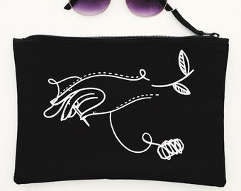 Innocent Bones Pouch - Black Cotton Screen Pronted Pouch Sewing Bag Kit Sewing Accessories