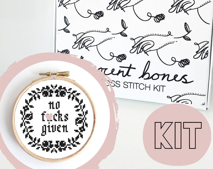 Featured listing image: Modern Cross Stitch Kit - No F*cks Given Floral Border Cross Stitch Pattern - Learn To Cross Stitch - Cross Stitch For Beginners - Mature
