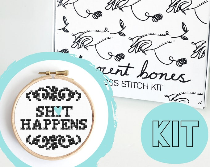 Featured listing image: Modern Cross Stitch Kit - Sh*t Happens Cross Stitch Pattern - Learn To Cross Stitch - Cross Stitch For Beginners -Alternative Gift Mature