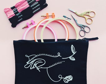 Innocent Bones Accessory Bundle - Cross Stitch Kit + Carry Pouch + Embroidery Scissors - Sewing Kit Accessories For Beginners