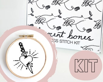 Modern Cross Stitch Kit - Heart & Dagger Traditional Tattoo Style Cross Stitch Pattern - Learn To Cross Stitch - Cross Stitch For Beginners