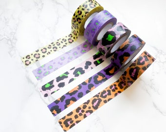 Animal Leopard Print Paper Washi Tape - Set of 5 - Planner tape, Journal tape, Craft Accessories, Crafts, Scrapbooking, Journaling
