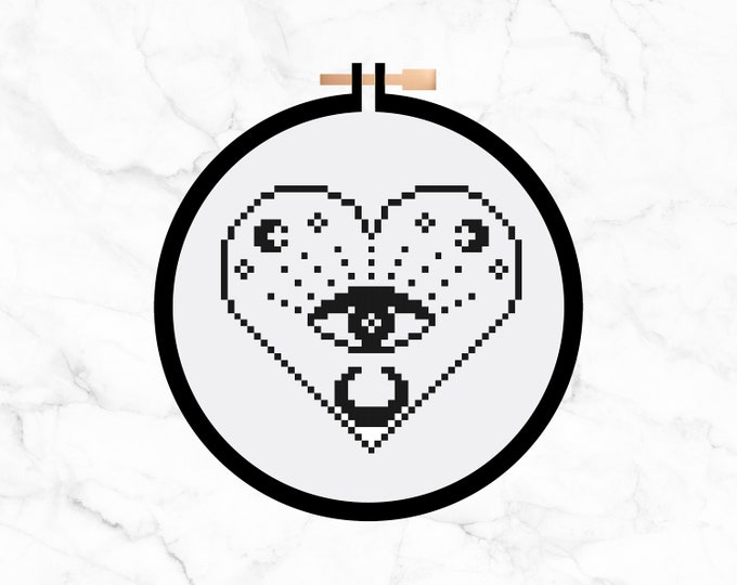 Featured listing image: All Seeing Eye Heart - Cross Stitch Pattern PDF - Learn To Cross Stitch - Cross Stitch For Beginners - PDF Sewing Pattern - Craft Kit