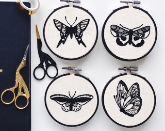 Set of 4 Delicate Butterfly - Completed Hand Embroidery Ready To Display - Perfect Gift Home Decoration - Simple Black & White Modern