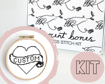 Modern Cross Stitch Kit - Custom Personalised Words In Heart Cross Stitch Pattern - Craft Kit - Alternative Gift -Cross Stitch For Beginners