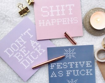 Pack of 3 - Mature Funny Greetings Cards - Birthday Card - Mature Card - Naughty Greetings Card - Funny Greetings Card - Cross Stitch Cards