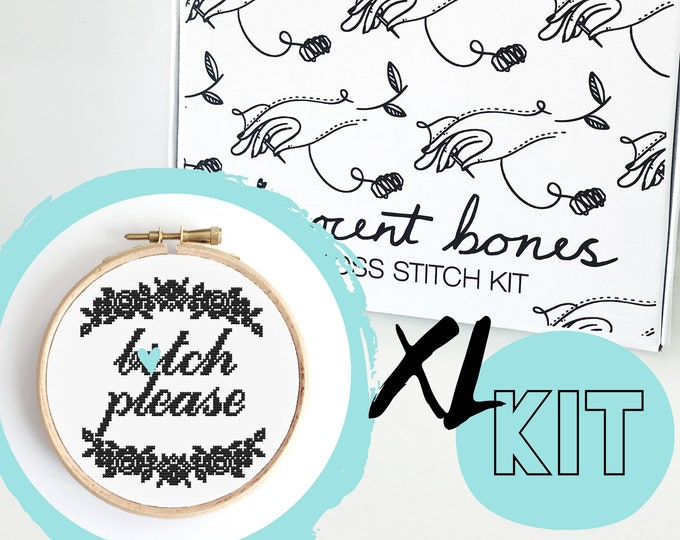 Featured listing image: XL B*tch Please Modern Cross Stitch Kit - easy chart design cheeky offensive bad taste mature embroidery kit swear words