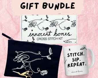 Ultimate Cross Stitch Kit - Gift Set - Crafty Gift - Cross Stitch Kit, Carry Pouch, Embroidery Scissors, Funny Mug, Sewing Kit For Beginners