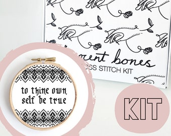 Modern Cross Stitch Kit - To Thine Own Self Be True Cross Stitch Pattern - Alternative Gift - Learn To Cross Stitch - Gothic Cross Stitch