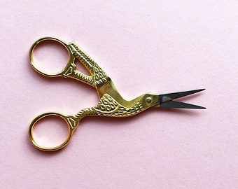 Gold Embroidery Scissors Delicate Bird Antique Style - Sewing Scissors