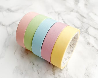 Rainbow Pastel Washi Tape - 5 Pcs - Planner tape, Journal tape, Planner washi tape, Craft Accessories, Crafts, Scrapbooking, Journaling