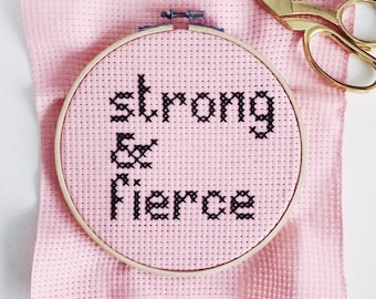 Strong and Fierce Slogan Pink & Black Cross Stitch Hoop - Completed Cross Stitch Decor Home Accessory Gift
