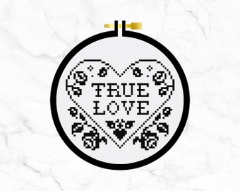 True Love - Cross Stitch Pattern PDF - Learn To Cross Stitch - Cross Stitch For Beginners - PDF Sewing Pattern - Gothic Heart Roses