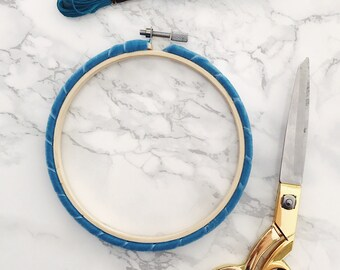 Bright Blue Embroidery Hoop. Wrapped Embroidery Hoop. Velvet Embroidery Hoop. Coloured Embroidery Hoop. Hand Embroidery Frame.