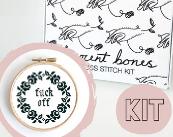 Modern Cross Stitch Kit - F*ck Off Floral Border Cross Stitch Pattern - Learn To Cross Stitch - Cross Stitch For Beginners - Mature Gift