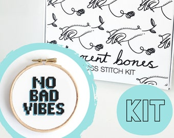 No Bad Vibes Modern Cross Stitch Kit - easy chart design guide great for beginners - BLUE contemporary bad taste funny quote embroidery kit