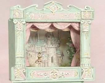 Victorian Tabletop Ballet Theatre -  antique style toy mechanical ballerinas - Hand-created- castle, roses Jill Dianne Dollhouse Miniatures