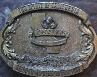 Vintage 1990s Belt Buckle Brass Kessler Whisky Gift for Him Rocker Belt Buckle